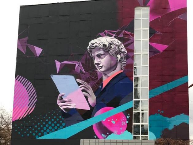 Viva Челябинск! Мэр Флоренции восхитился граффити с изображением Давида Микеланджело